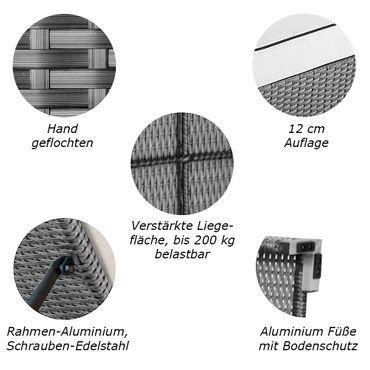 Sonnenliege Verona High Grau-Silber – Bild 2