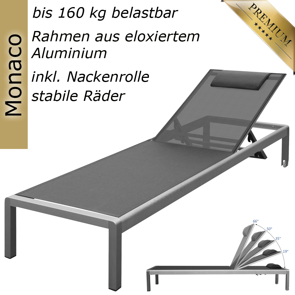 Gartenliege alu mit rollen  Aluminium Liege Alu Gartenliege Sonnenliege Liegestuhl Rollliege ...
