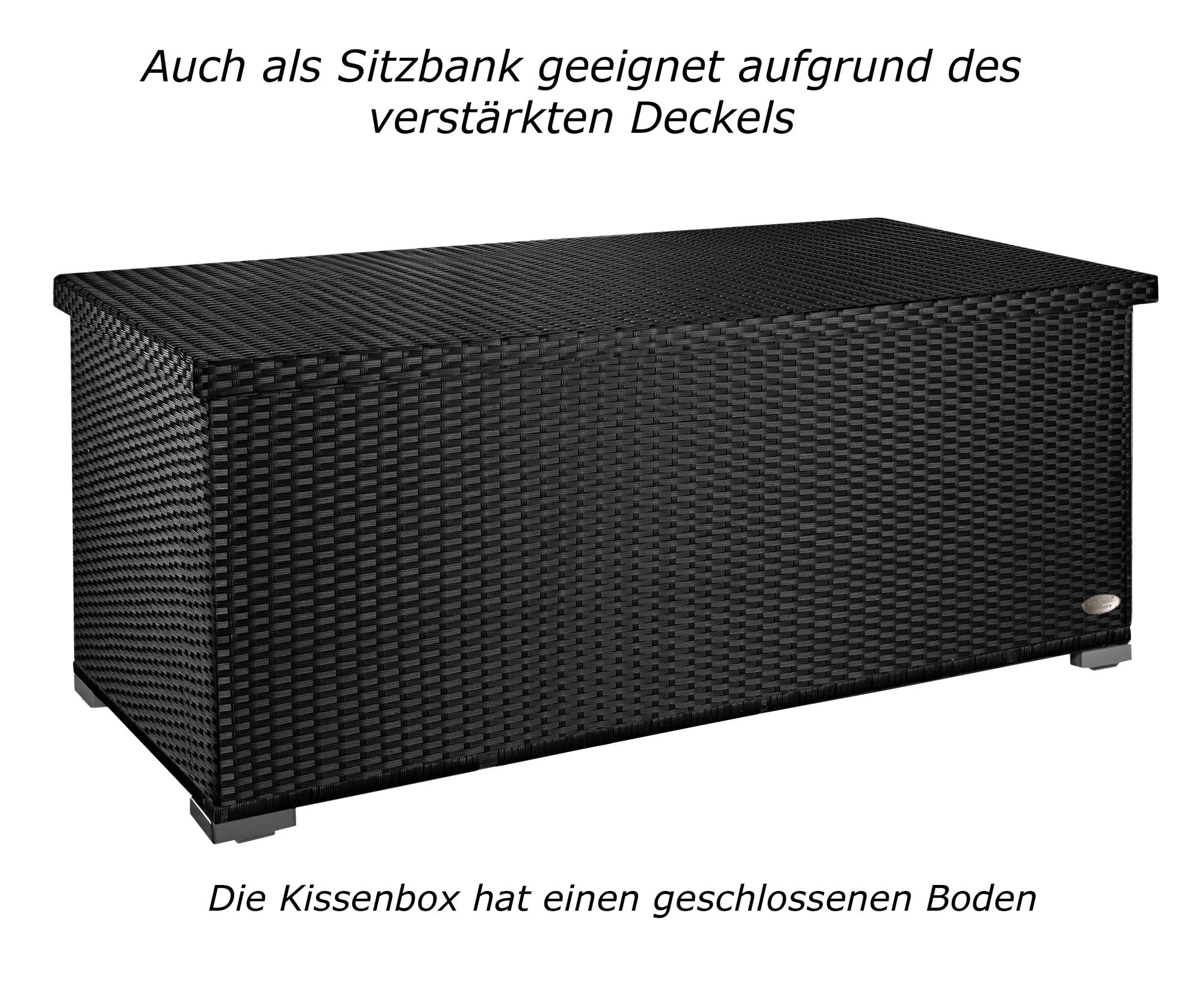 kissenbox auflagenbox gartentruhe gartenbox truhe box polyrattan rattan schwarz gartenm bel. Black Bedroom Furniture Sets. Home Design Ideas