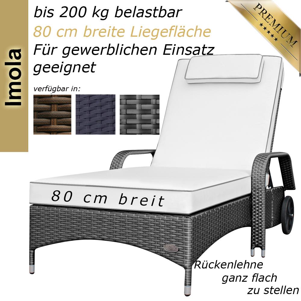 Sonnenliege Imola Silber/Grau. Polyrattan Liege ...