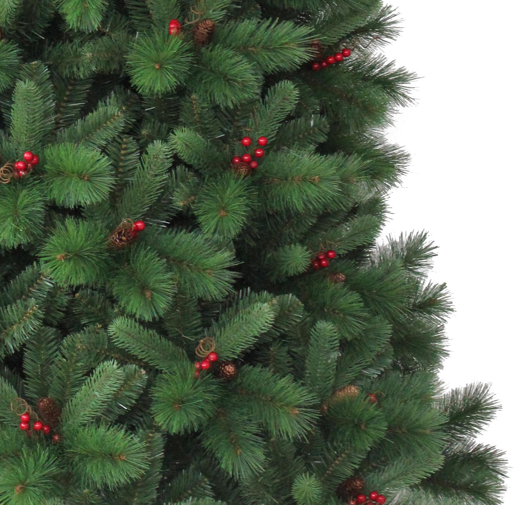 270 cm sapin arbre de no l artificiel avec baies rouges et pommes de pin ebay. Black Bedroom Furniture Sets. Home Design Ideas