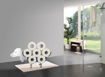Toilettenpapierhalter Hund (Matt Silber)  – Bild 5
