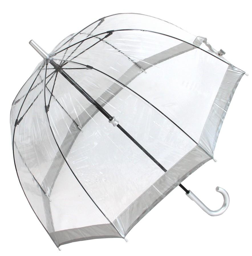 Fulton Regenschirm Glockenschirm transparent durchsichtig Silberrand