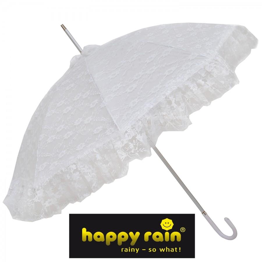 Brautschirm Stockschirm Regenschirm Damen weiß