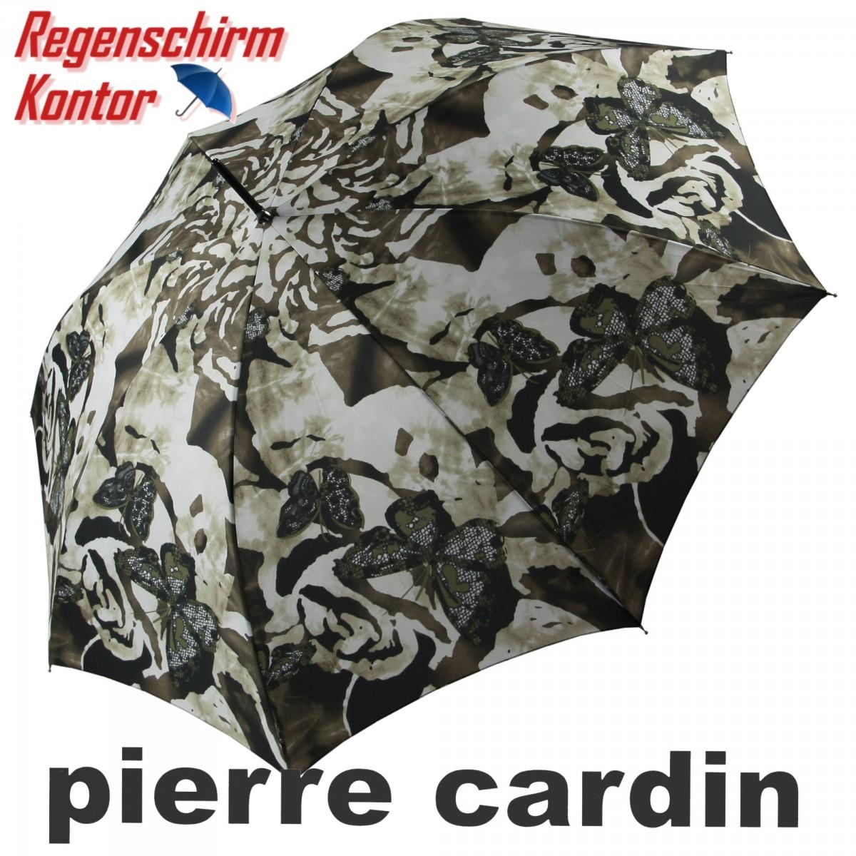 Pierre Cardin Regenschirm Damen Stockschirm Brauntöne Pierre Cardin