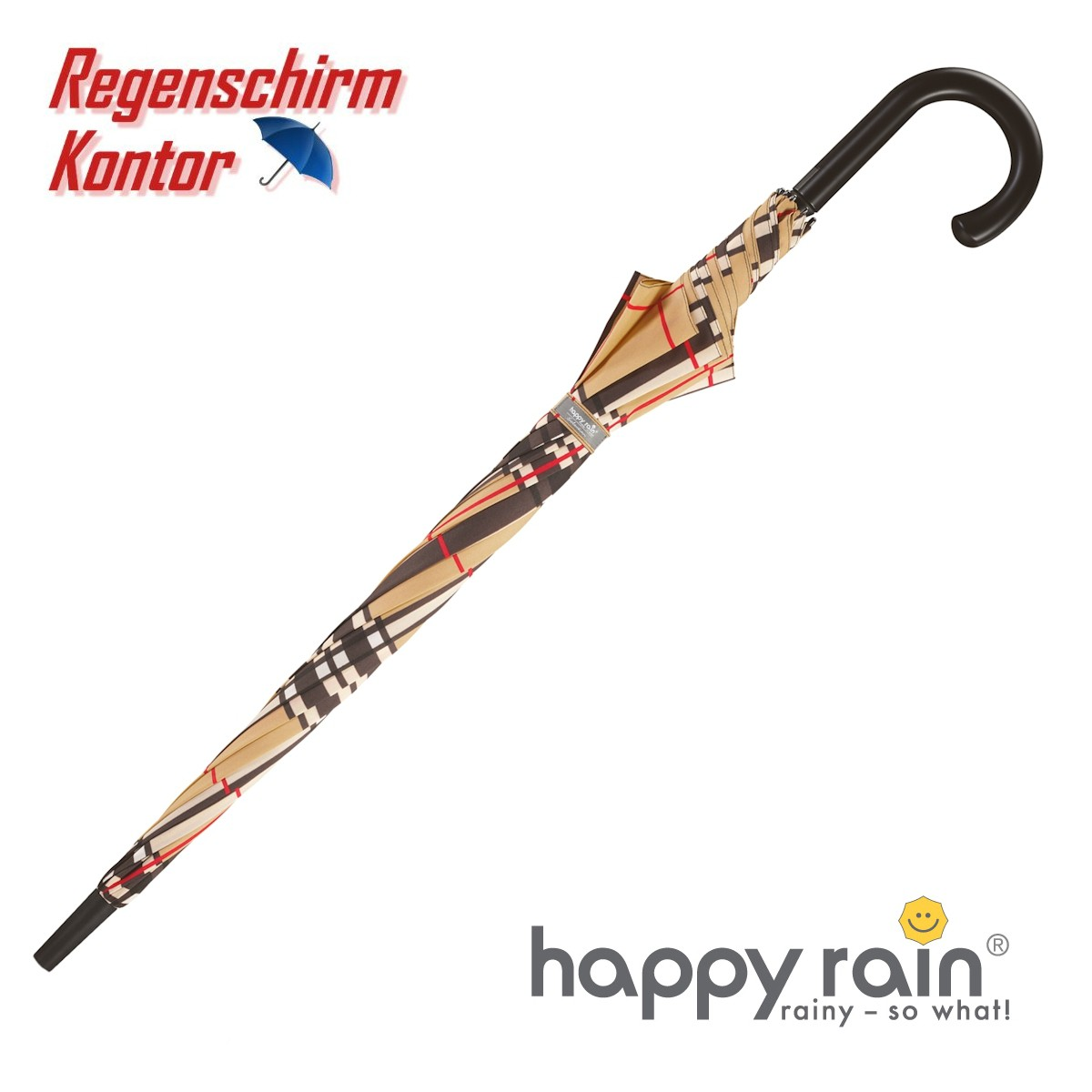happy rain Stockschirm Karo hellbraun