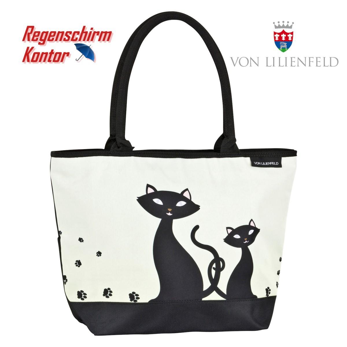 Shopper Tasche und Stockschirm Motiv Schwarze Katzen