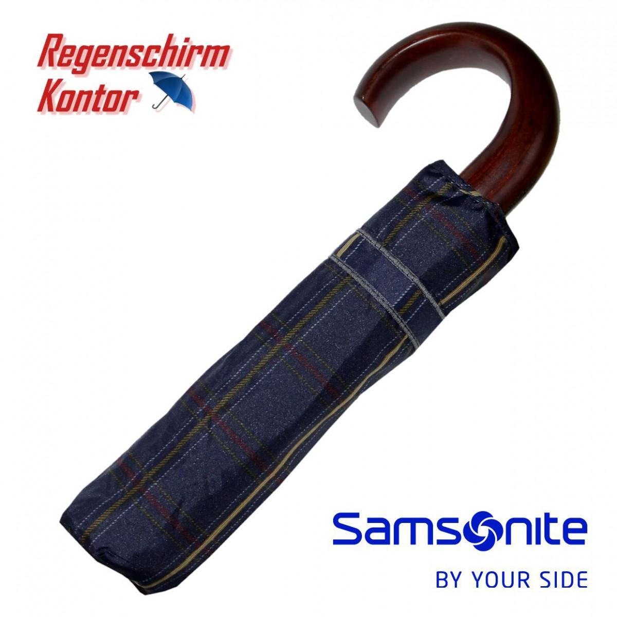 Regenschirm Samsonite Taschenschirm Holzgriff Karo Blau