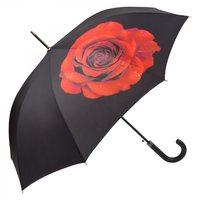 Stockschirm Rose schwarz Automatik Damenregenschirm