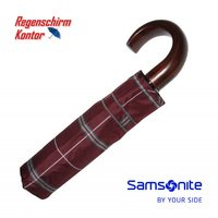 Taschenregenschirm Karomuster Auf-Zu-Automatik Samsonite Bordeaux Holzgriff