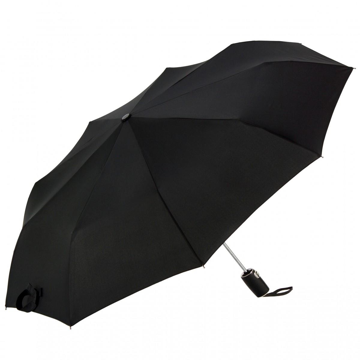 Cachemir Taschenschirm Ledergriff schwarz