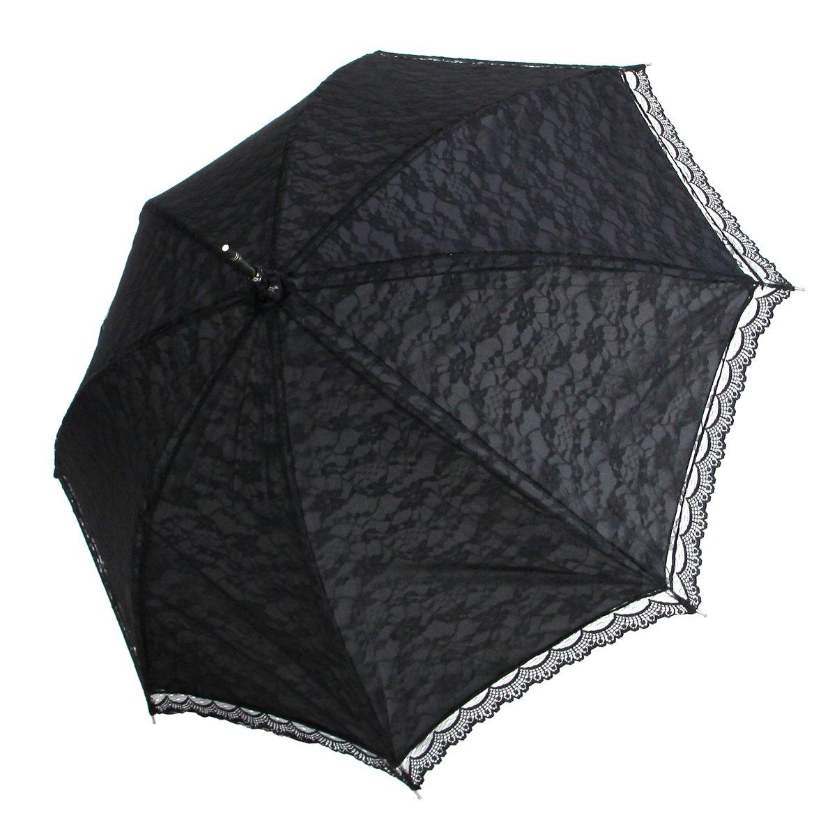 Regenschirm Hochzeit Trauer Gothic Spitze schwarz