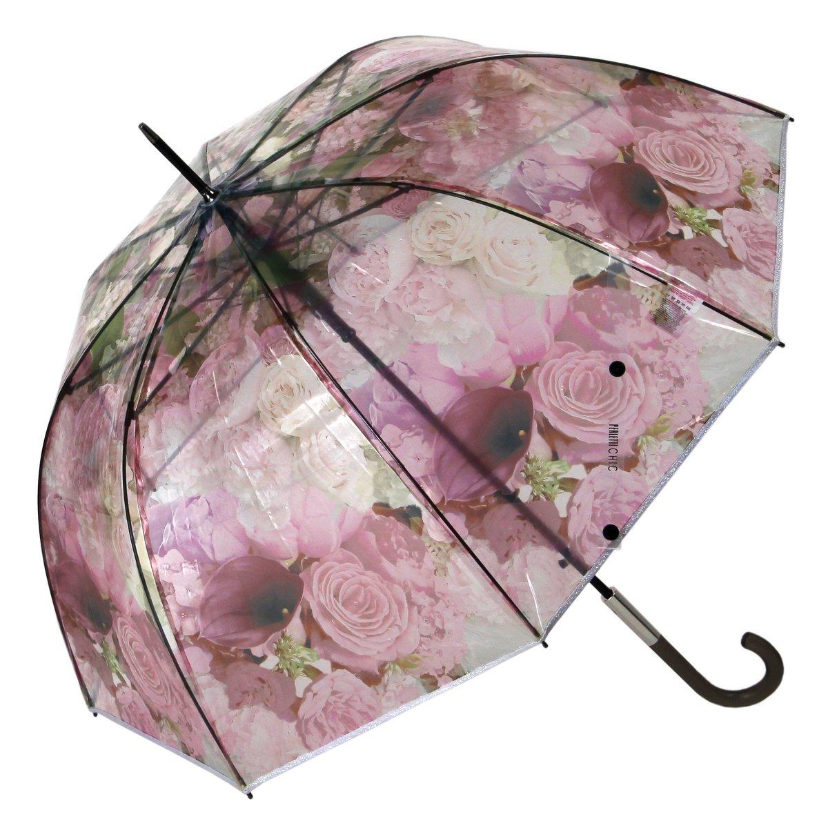 Perletti Transparentschirm Glockenschirm Flowers