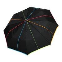 Damenminileichttaschenregenschirm Superminimulticolorregenschirm Schwarz / Neon mehrfarbig