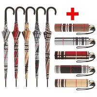 Musterkaroregenschirm Damenherrenautomatikschirme Bundle Taschenschirm Stockschirm rot