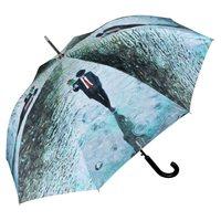 Gemäldemotivstockschirm Automatiklangregenschirm Regentagillustration farbig