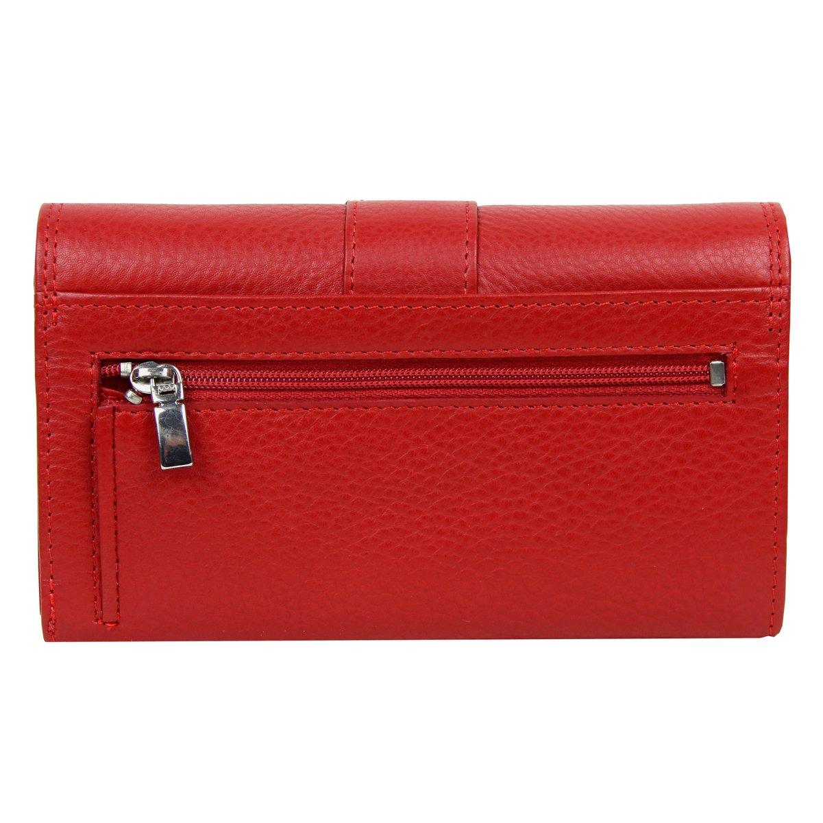 Geldbörse Portemonnaie Leder Damen Rot