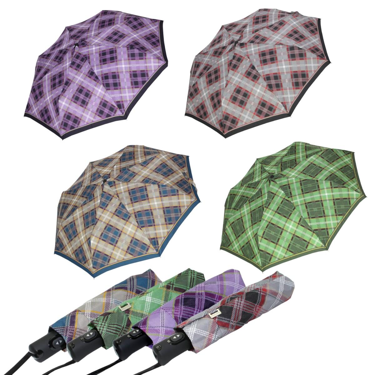 Doppler Regenschirm Taschenschirm Damen Square Karo