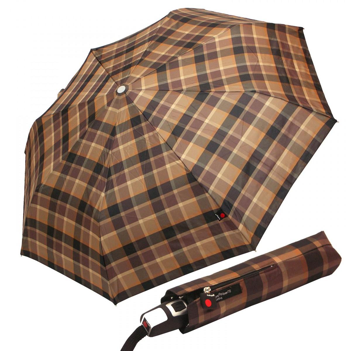 Regenschirm Damen Herren Knirps Fiber T2 Duomatic Karo braun
