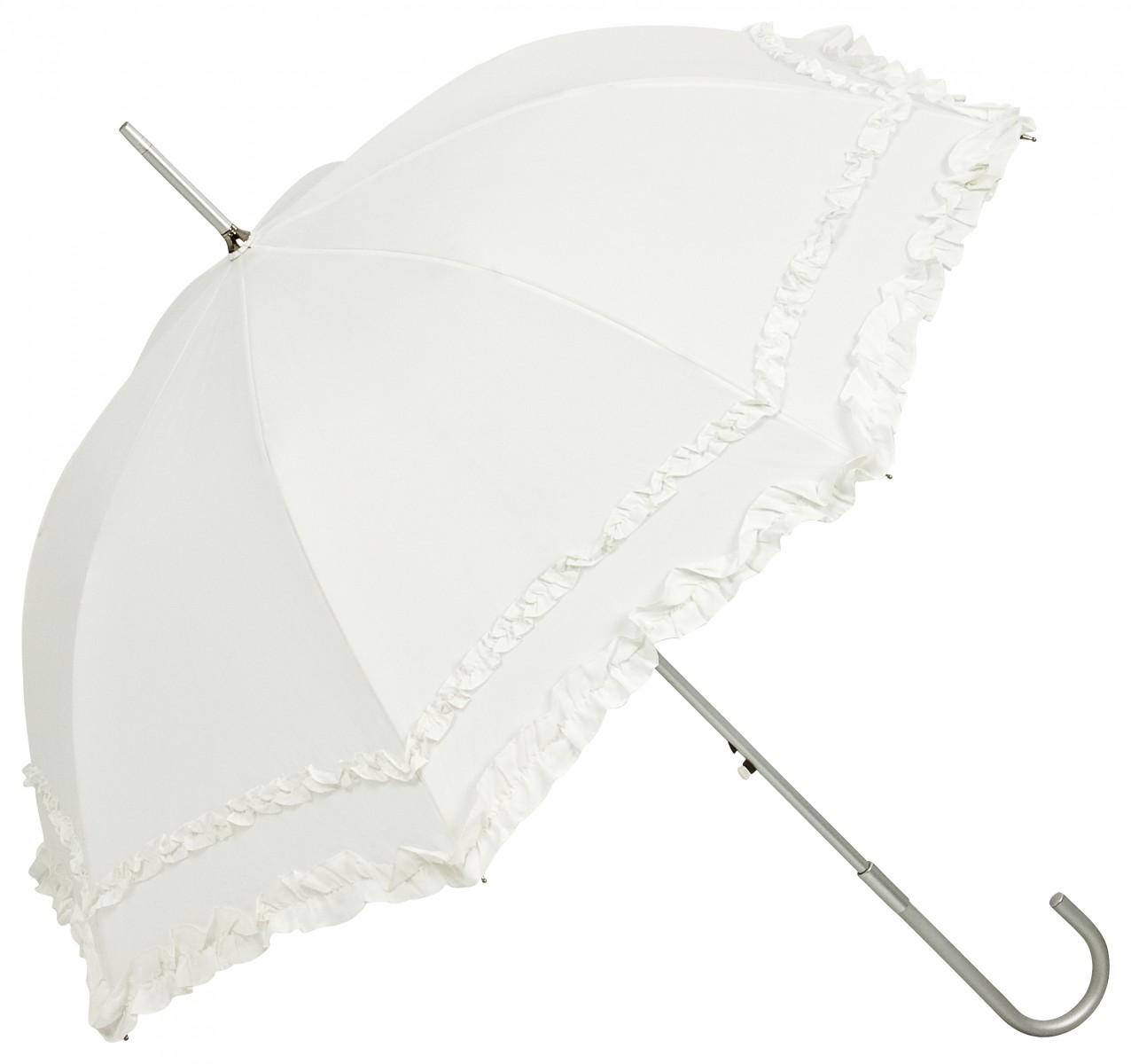 Regenschirm  Stockschirm Rüschen weiß