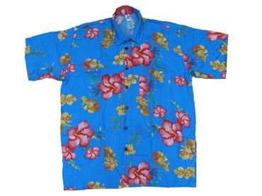 Hawaiihemd Hawaii Hawai Hemd schwarz Hibiskus blau Paradiesvogelblumen rot