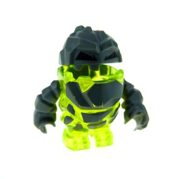 1 x Lego System Figur Power Miners transparent neon grün gelb dunkel grau Felsen Stein Mini Rock Monster - Sulfurix Set 8959 8909 pm005
