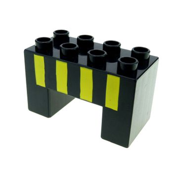 1 x Lego black Duplo Brick 2 x 4 x 2 with 2 x 2 Cutout on Bottom with Four Yellow Stripes Pattern  9125 3325 6394pb01