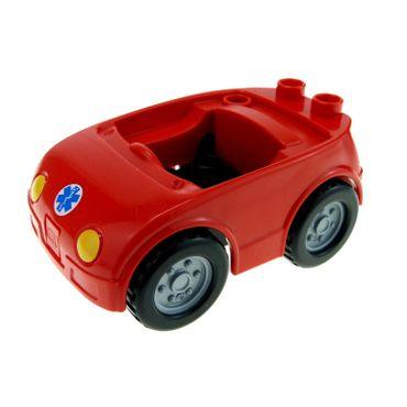 1 x Lego Duplo Fahrzeug Auto rot PKW Räder flat silver Krankenschwester Arzt Cabrio klein für Set 5793 88760 88762c02pb02 92014pb02