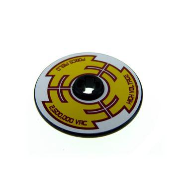 1 x Lego brick black Technic, Disk 3 x 3 with 'HIGH VOLTAGE', 'FORCE FIELD', '2,500,000 VAC' on Yellow Pattern (Sticker) - Set 8102 2958pb042