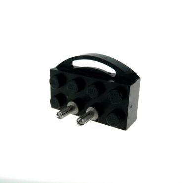 1 x Lego System Electric Eisenbahn Schleif Kontakt B-Ware abgenutzt 12V schwarz 2x4 Strom Pinn lang Schleifer für Zug Motor alt Type 1 / Type 2 bb53b
