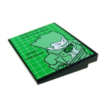 1 x Lego brick Black Slope 10 6 x 8 with Batman Joker Pattern (Sticker) - Set 7783  4515pb020