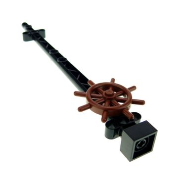 1 x Lego brick black Boat Mast 2 x 2 x 20 with Holes - Corner Aligned x shape Axle Hole and reddish brown Boat Ship's Wheel 4790 4263506 48002a