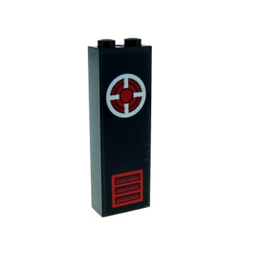 1 x Lego brick black Brick 1 x 2 x 5 with Red Vent and Silver Circle with Red and Black Pattern (Sticker) - Set 6776 2454pb011