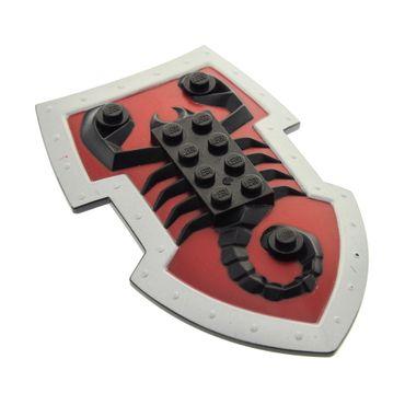 1 x Lego brick Black Large Figure Shield 2 x 4 Brick Relief Vladek Scorpion with Dark Red and Silver Pattern Lord Vladek 8795 50657pb01