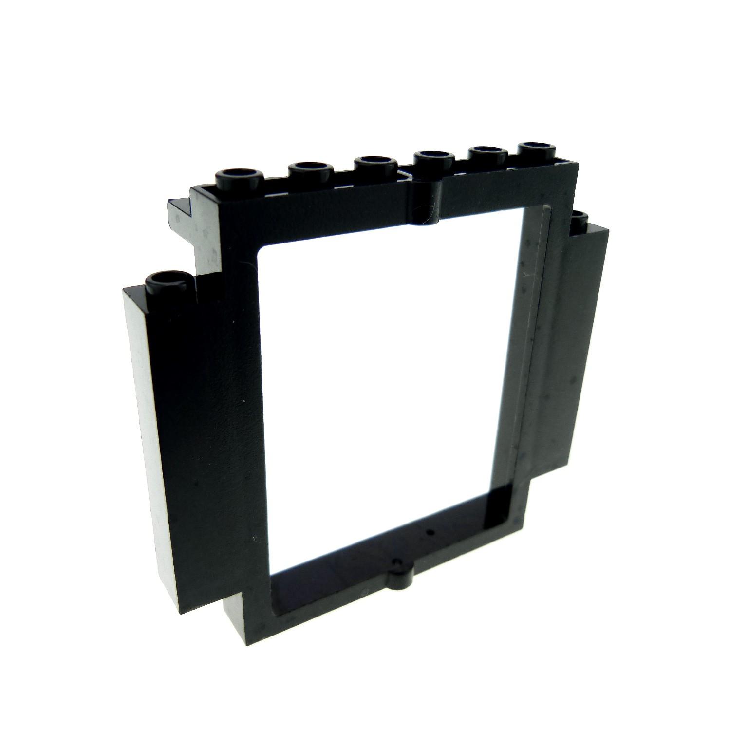 1 x Lego brick black Door Frame 2 x 8 x 6 Swivel with Bottom Notches ...