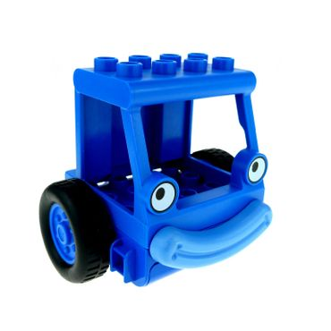 1 x Lego brick Blue Duplo Crane Cabin 4 x 4 x 2 with Eyes (Lofty)  and Blue Duplo Crane Front/Base with Two Wheels and Lips (Lofty) 4153267 4263598 40631pb01 40625cx1