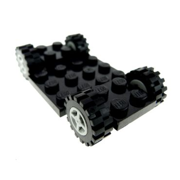 1 x Lego brick black Vehicle Base 4 x 7 x 2/3 with light bluish gray Wheel 8mm D. x 6mm with Black Tire Offset Tread Small (4624 / 3641) 244126 4624c02 2441