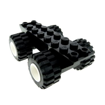 1 x Lego brick Black Vehicle Base 2 x 8 x 1 1/3 with white Wheel 11mm D. x 12mm Hole Round for Wheels Holder Pin with Black Tire Offset Tread Small Wide (6014a / 6015) 6014ac01 30277