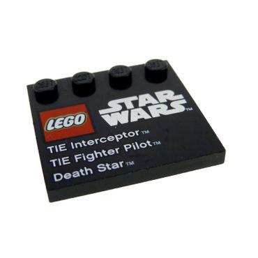 1 x Lego System Bau Platte schwarz 4x4 Fliese mit einer Reihe Noppen bedruckt mit Star Wars Logo 'TIE Fighter Pilot Death Star' Set 9676 4655297 6179pb041