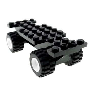 1 x Lego brick black Vehicle Base 4 x 10 x 1 2/3 white Wheel 11mm D. x 12mm Hole Round for Wheels Holder Pin with Black Tire Offset Tread Small Wide (6014a / 6015) 6014ac01 30235