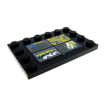 1 x Lego brick Black Tile, Modified 4 x 6 with Studs on Edges with Police Surveillance Screens Pattern (Sticker) - Set 7498 6180pb054
