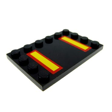 1 x Lego brick Black Tile, Modified 4 x 6 with Studs on Edges with Yellow Stripes with Red Borders Pattern (Stickers) - Set 7034 6180pb005
