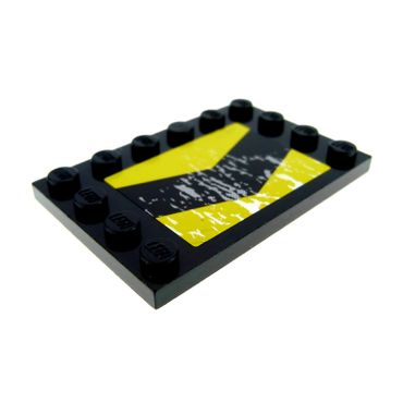1 x Lego brick Black Tile, Modified 4 x 6 with Studs on Edges with Yellow warning arrow Pattern (Stickers) 6180*