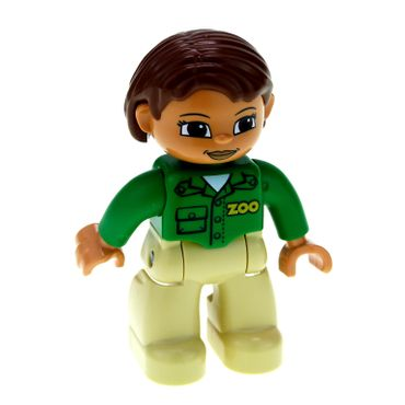 1 x Lego brick Duplo Figure Lego Ville Female Tan Legs Green Top with 'ZOO' on Front and Back Reddish Brown Hair Brown Eyes (Zoo Worker) 47394pb144