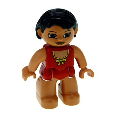 1 x Lego brick Duplo Figure Lego Ville Female Red Swimsuit with Yellow Bow Black Hair Set 5655 5794 47394pb132