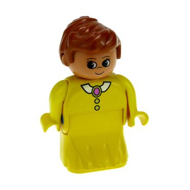 1 x Lego brick Duplo Figure Female Lady Yellow Dress Yellow Top White Collar and Dark Pink Brooch 31181pb05