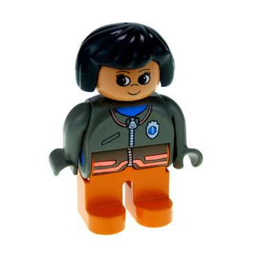 1 x Lego brick Duplo Figure Female Medic Orange Legs Zippered Jacket with EMT Star of Life Pattern 4555pb017