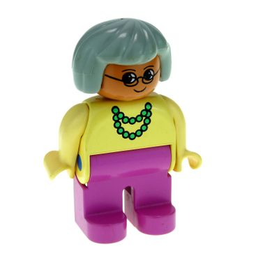 1 x Lego brick Duplo Figure Female Dark Pink Legs Yellow Blouse with Green Necklace Gray Hair 4555pb191