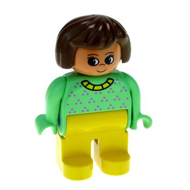 1 x Lego brick Duplo Figure Female Yellow Legs Light Green Top with Purple Dots Yellow Collar Brown Hair 4555pb246