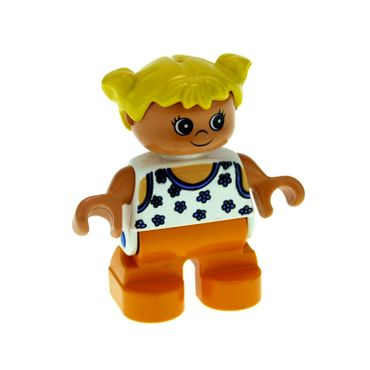 1 x Lego brick Duplo Figure Child Type 2 Girl Orange Legs White Blouse with Blue Flowers Yellow Hair Pigtails 6453pb034